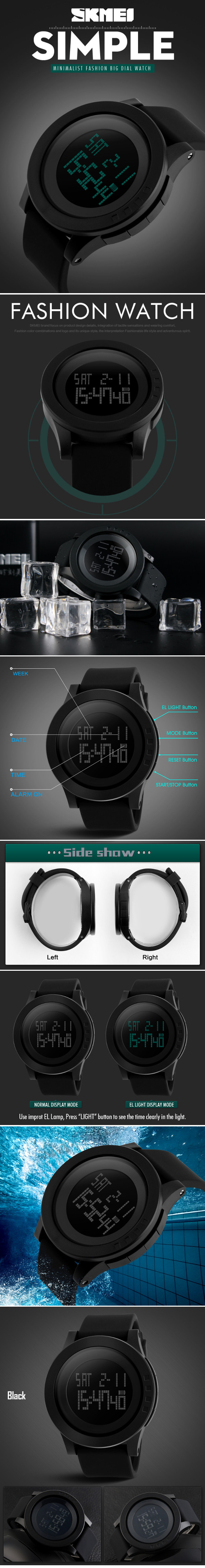 SKMEI 1142 LED Digital Alarm Chronograph Waterproof Men Sport Watches
