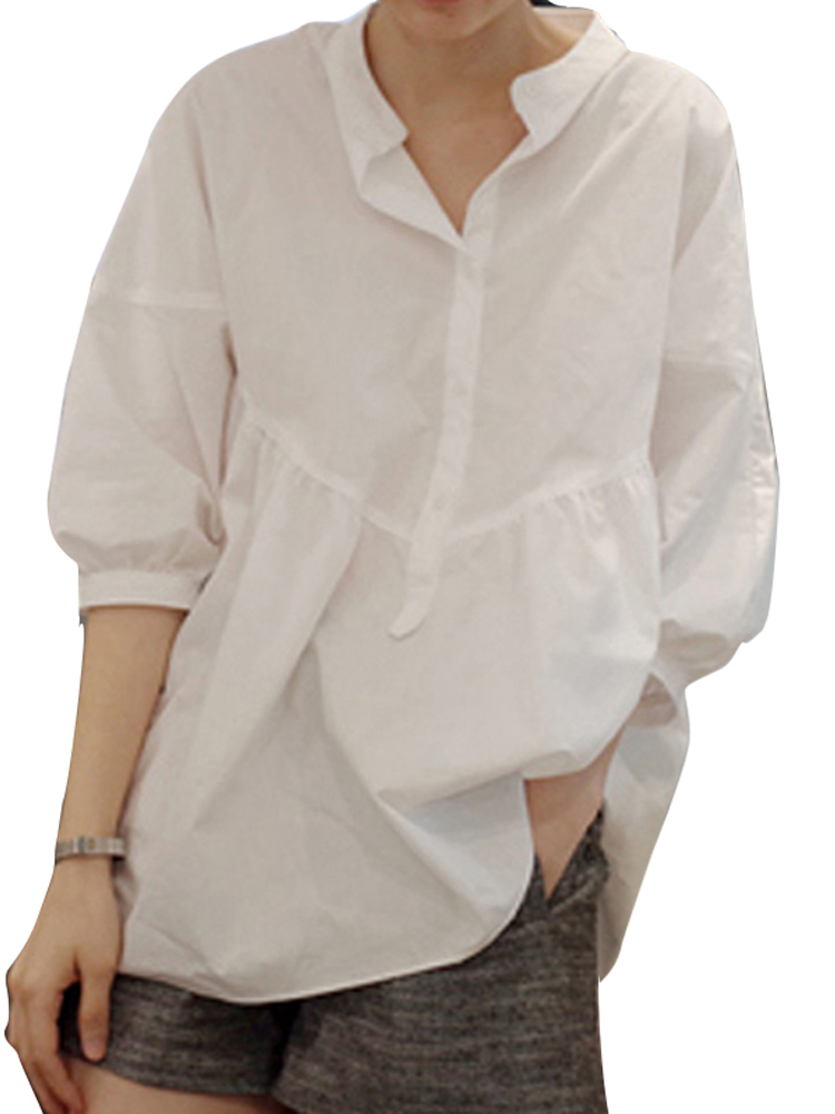 Women Long Sleeve V Neck Loose Casual Blouse