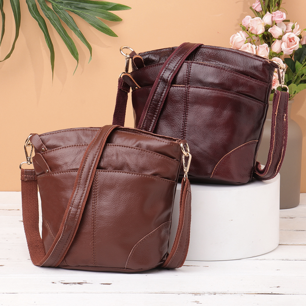 Women Genuine Leather Bucket Bag Vintage Solid Crossbody Bag