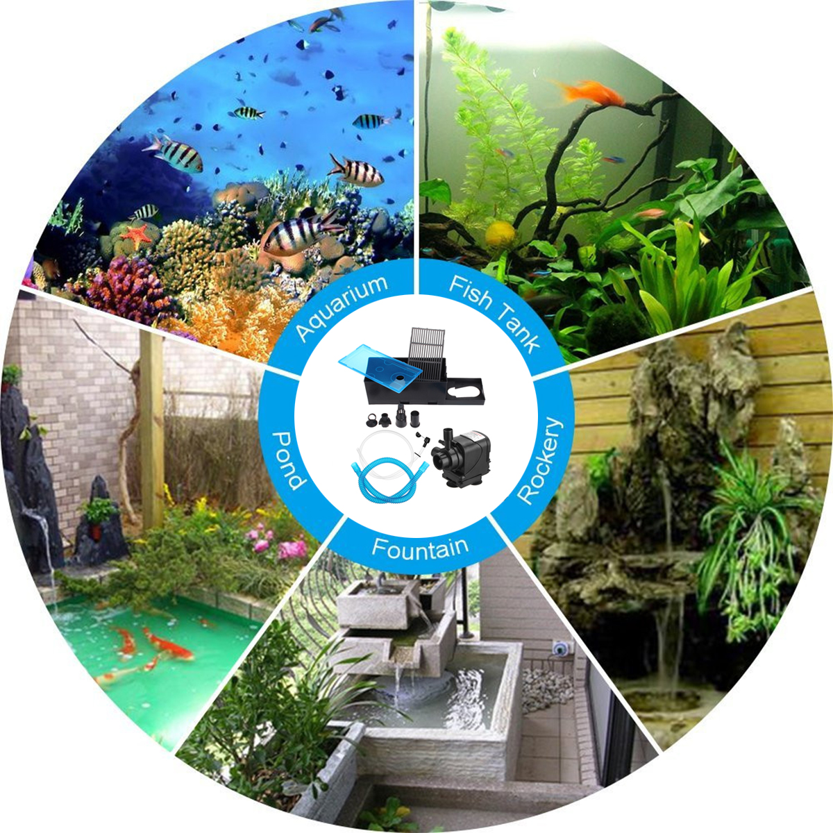 Cleaning & Maintenance 3 In 1 Aquarium Submersible Water Pump Oxygener Pond Fish Tank With Filter Box