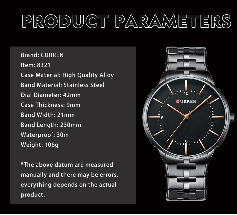 CURREN 8321 Full Steel Casual Style Men Wrist Watch