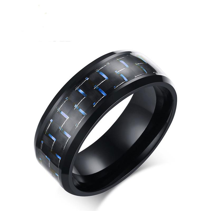 8mm Stainless Steel Carbon Fiber Polished Men Ring Simp