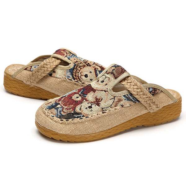 Women Flats Cartoon Flax Outdoor Embroidery Slipper