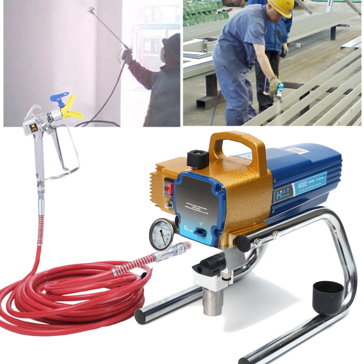 H680 High Pressure Airless Wall Paint Spray Gun Sprayer Machine 22MPA 1800W 220V