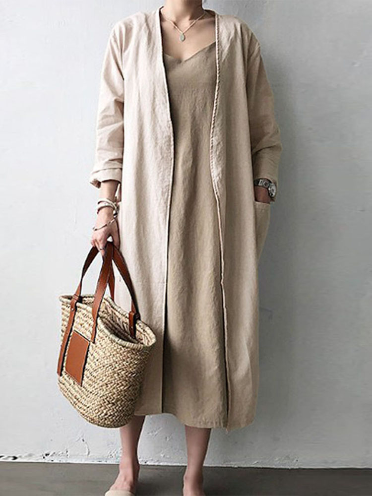 Women Solid Color Casual Cotton Long Cardigans with Pockets