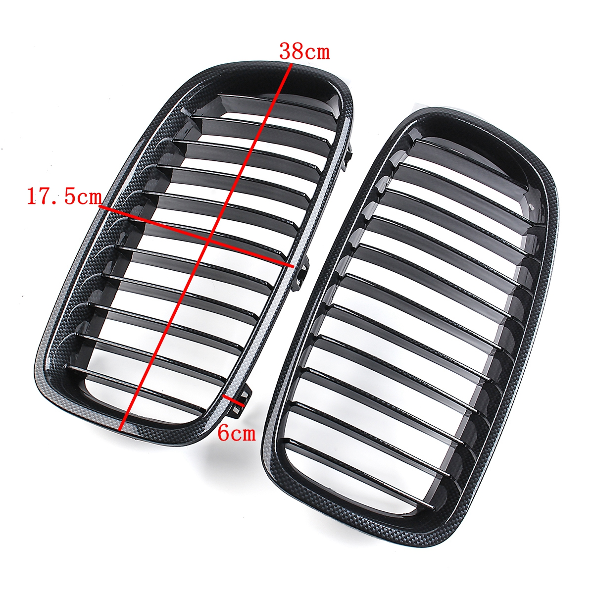 Pair Carbon Fiber ABS Front Kidney Grille For BMW F30 F31 F35 2012-up