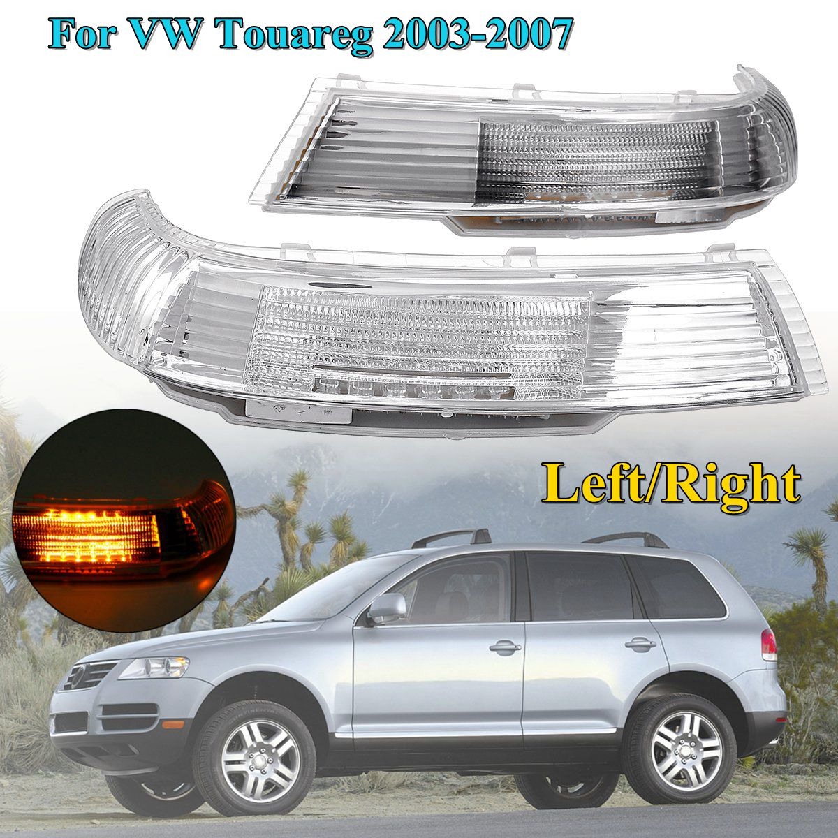 Side Rearview Mirror LED Turn Signal Lights Indicator Lamp Amber Left/Right for VW Touareg 2003-2007