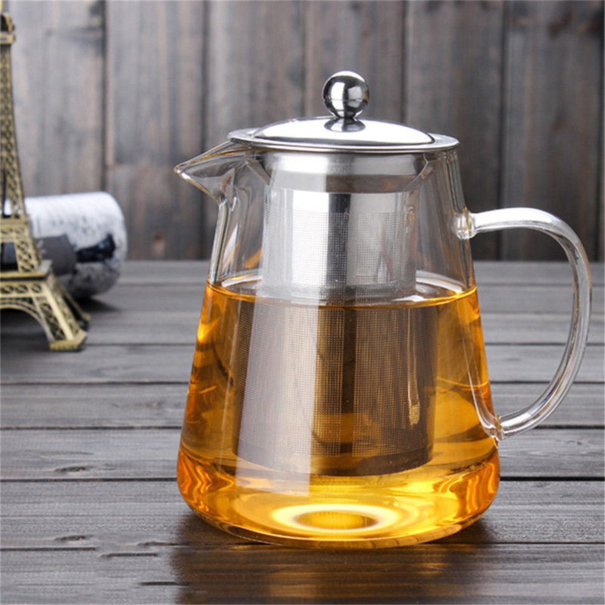 450ml Heat Resistant Clear Glass Tea Pot With Infuser Coffee Tea Leaf Herbal Pot