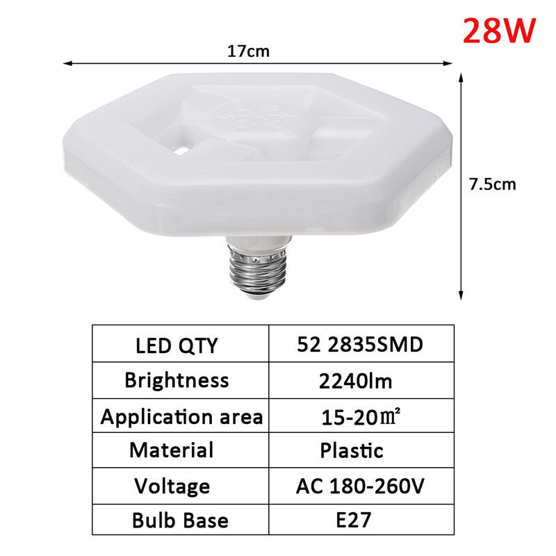 E27 28W SMD2835 Pure White LED Light Bulb Lamp for Home House Decoration AC180-260V
