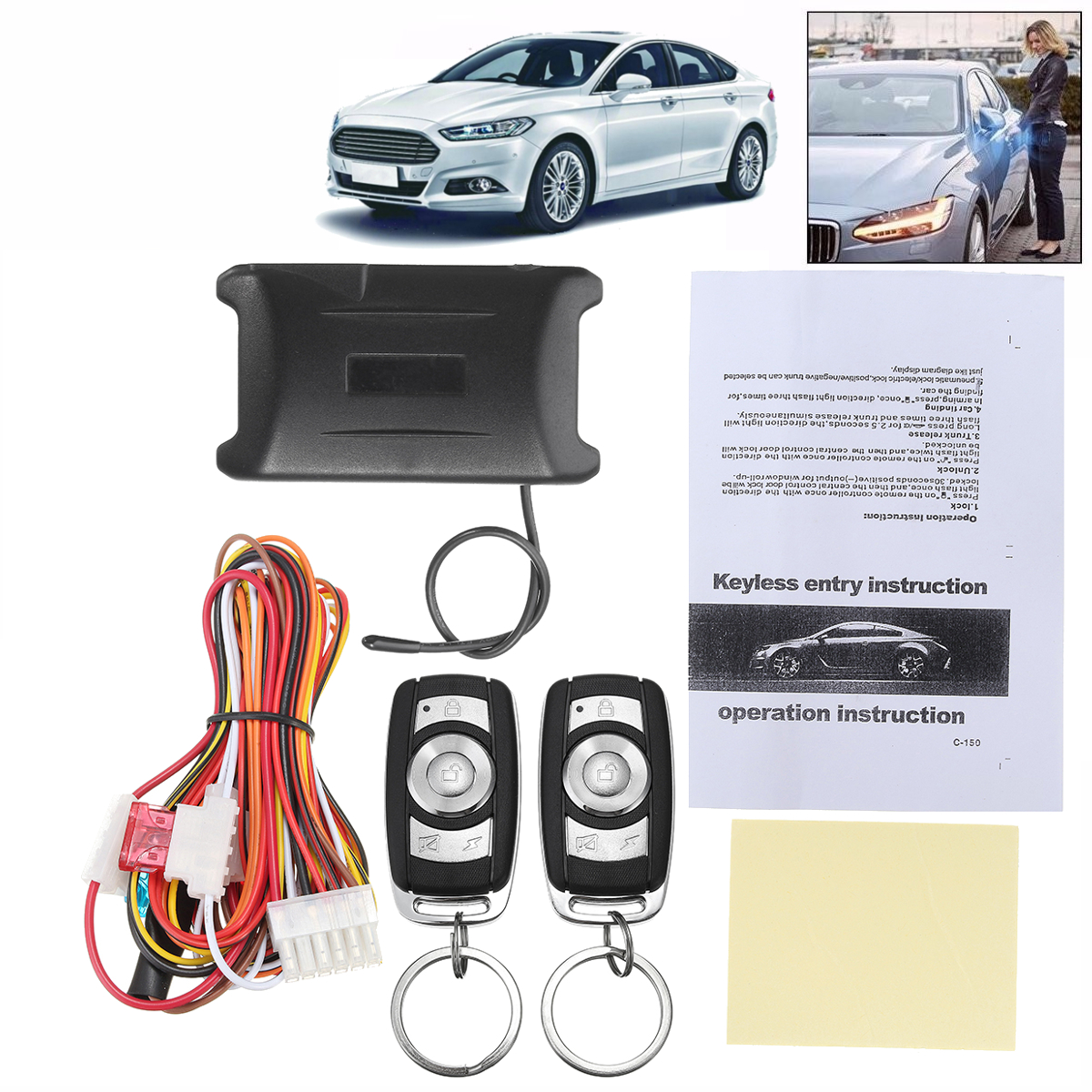 Universal Door Lock Vehicle Keyless Entry System Auto Car Remote Central Kit LED