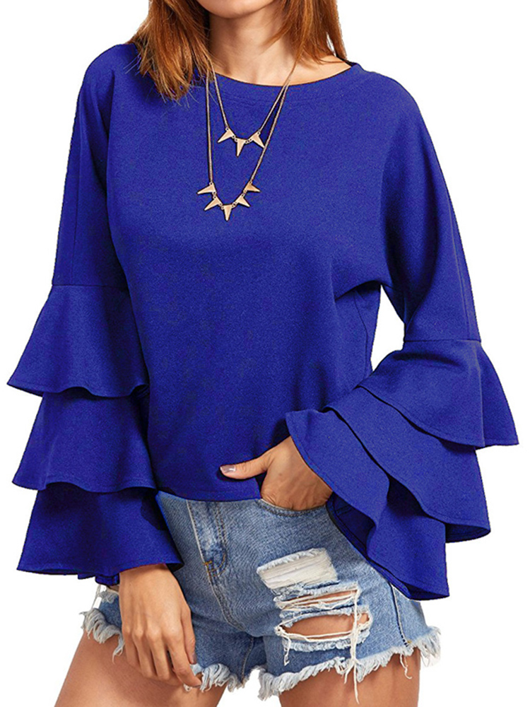 Casual Women Flared Long Sleeve Pure Color O-Neck Blouses