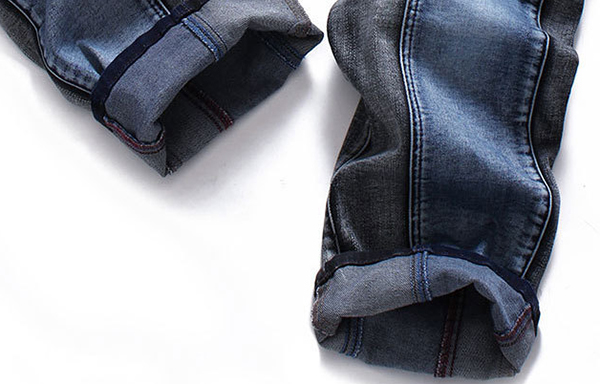 Men Elastic Slim Fit Straight Leg Washed Casual Jeans Pants US Size 30-44