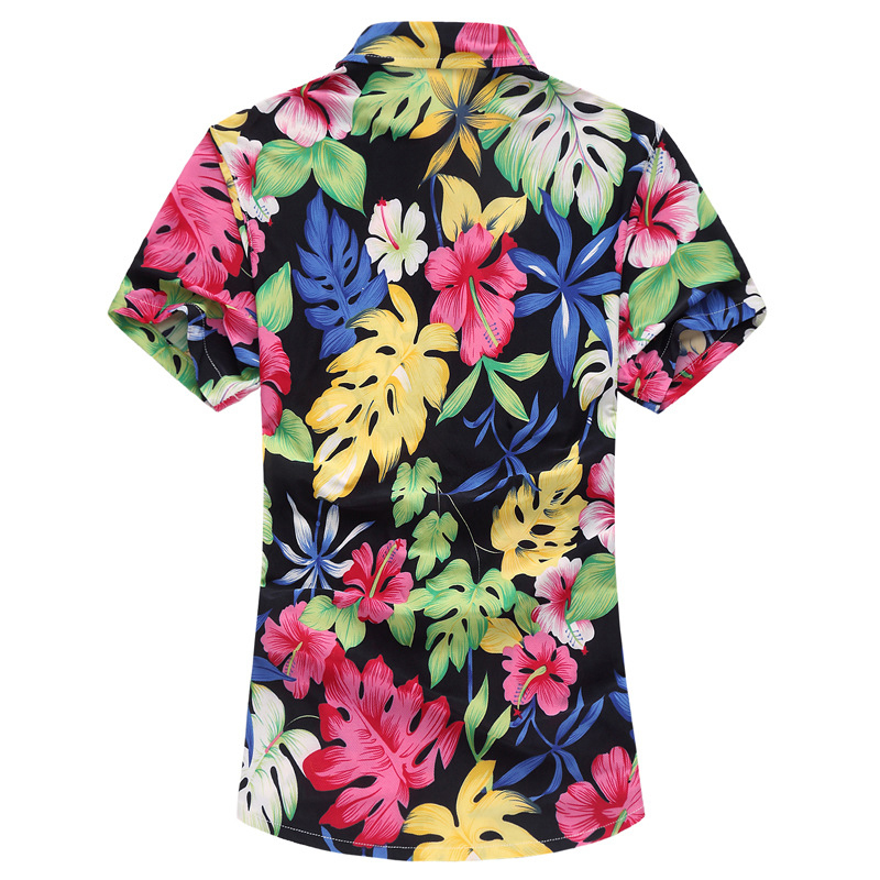 Mens Big Size Floral Printing Hawaiian Style Beach Casual Su