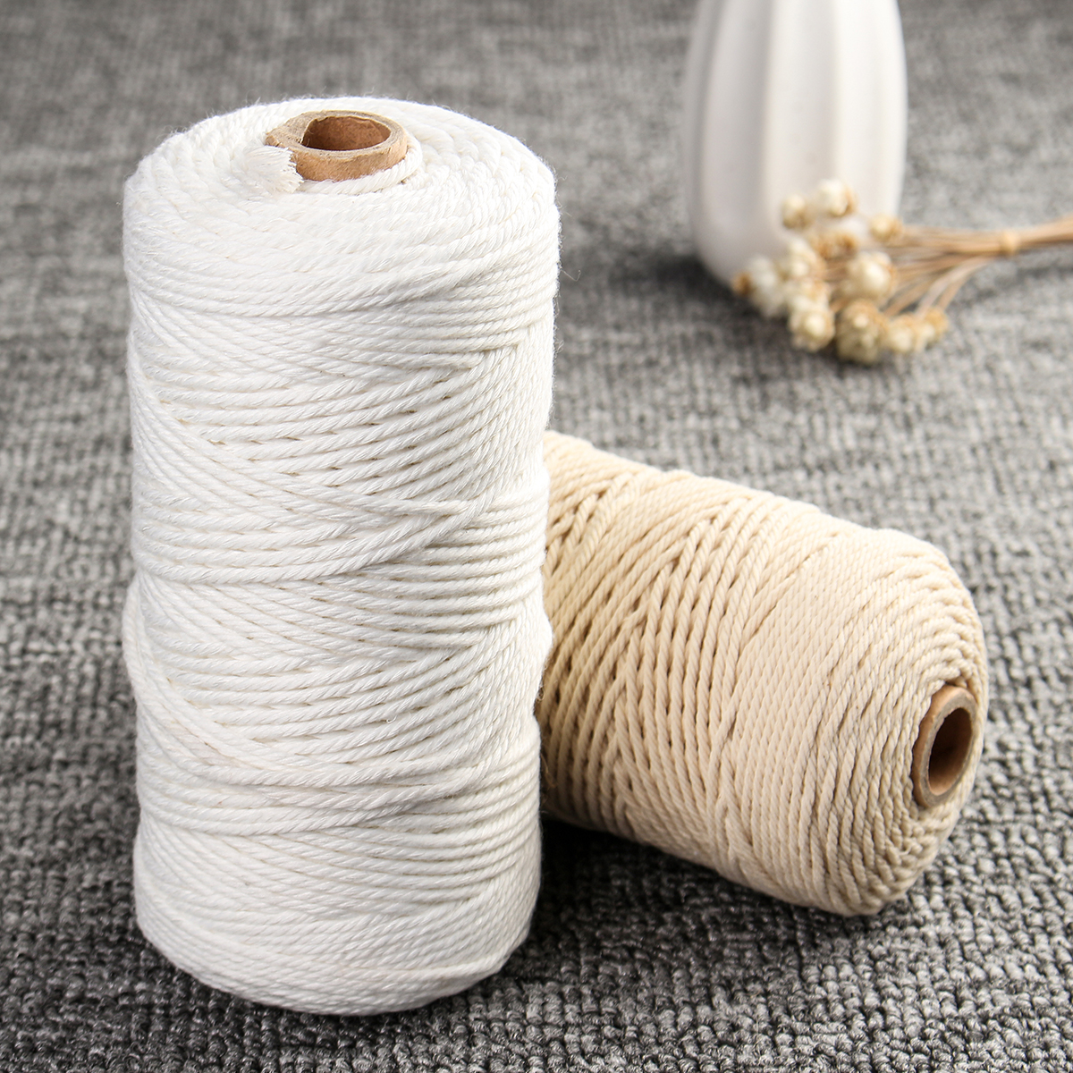 2mm x 200m Natural Beige White Twisted 100% Pure Cotton Cord Rope DIY Crafts Macrame String