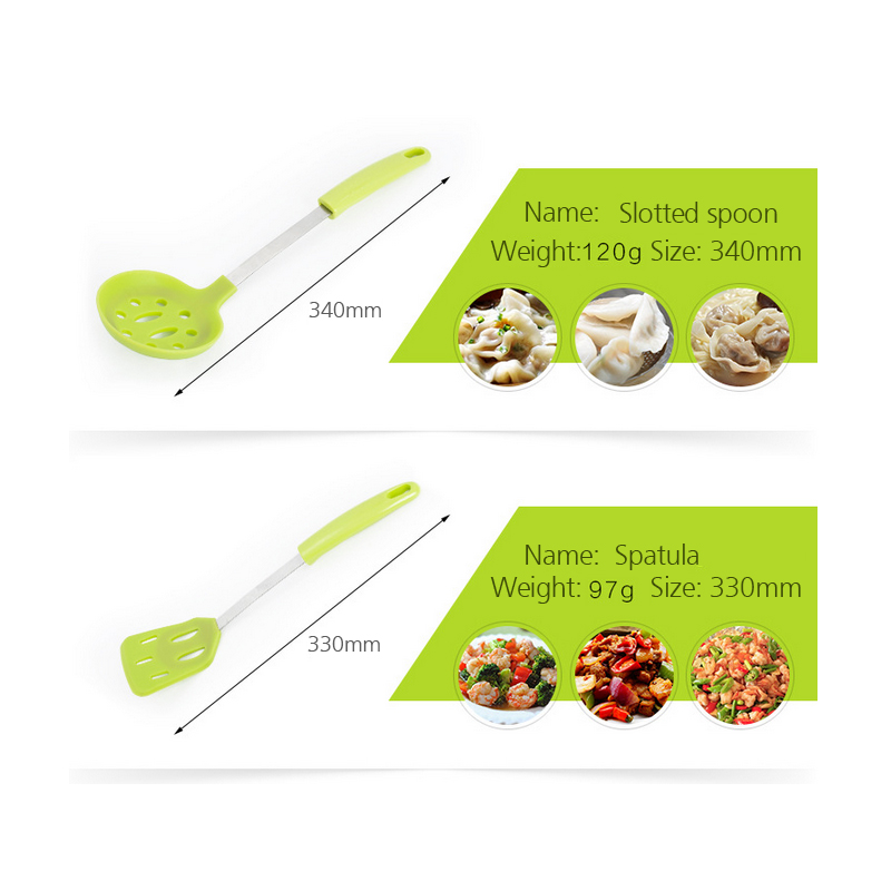 6 Pieces Stainless Steel Silicone Cooking Utensil Set with Premium Stand Cooking Spoon Spatula Soup Ladle Strainer Kitchen Supplies