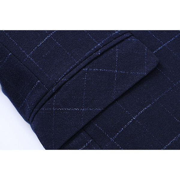 Slim Fit Plaid Checkered Single Breasted 2 Buttons Fashion Casual Blazers for Men