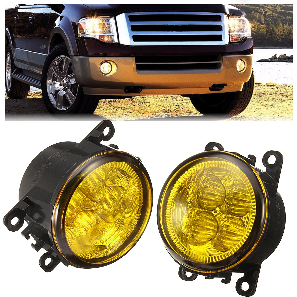 Pair Car Fog Lights Lamp with LED Bulb 12W Yellow for Ford/Honda/Acura/Nissan/Suzuki