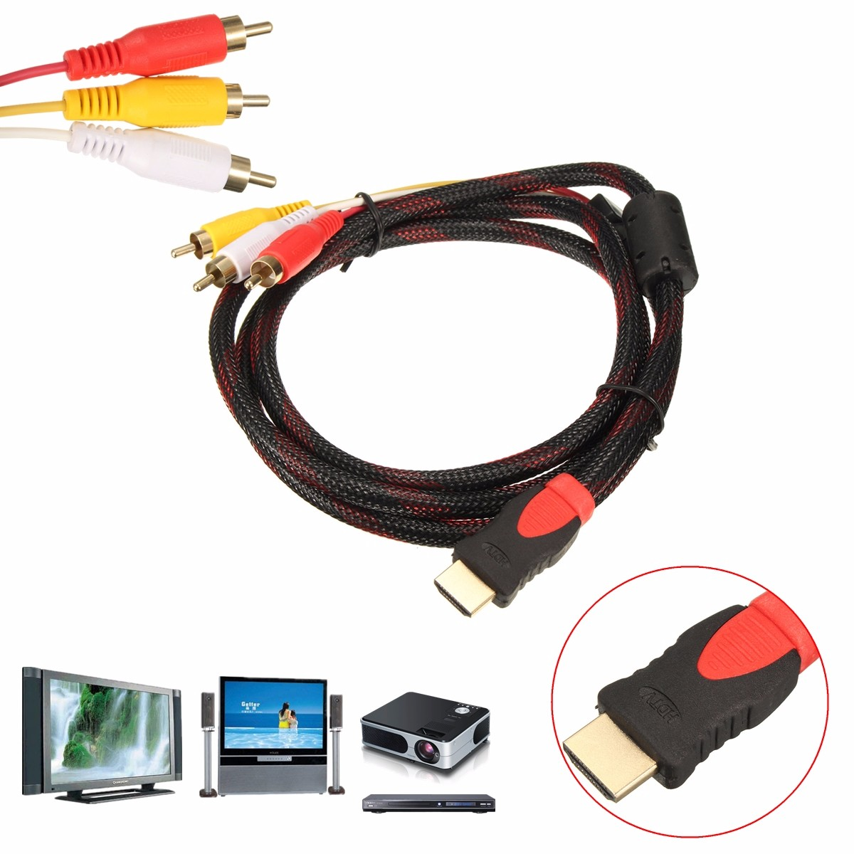 1.5M 5Ft HD Male to 3 RCA Video Audio AV Cable Cord Adapter for TV DVD 1080P PS3 Xbox