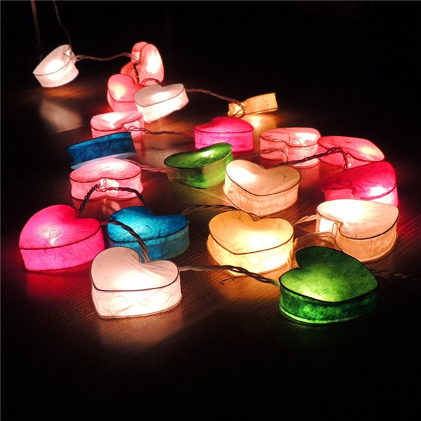 3M 20 LED Paper Heart String Lights for Party Christmas Kids Bedroom Decoration