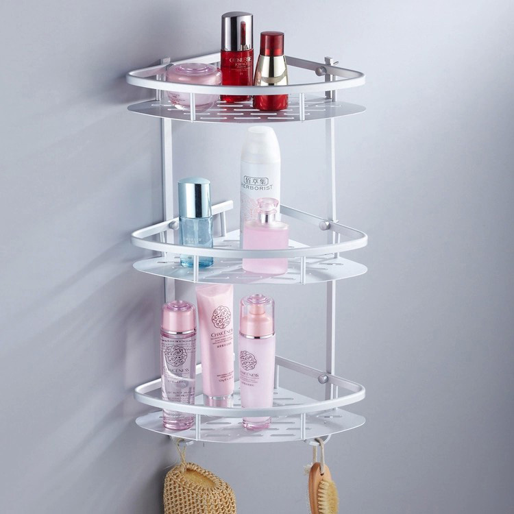Bathroom Space Aluminum Three Layer Triangle Coner Storage Rack Sundries Holder Stand Shelves