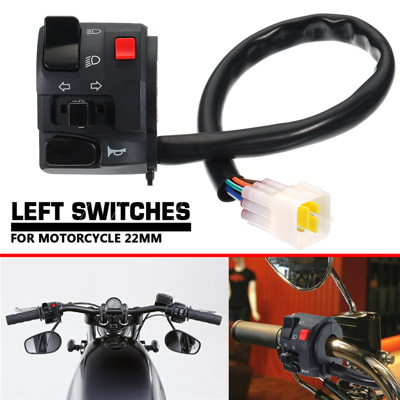 7/8inch Universal Motorcycle Left Switch Turn Signal Light Horn Button Handlebar