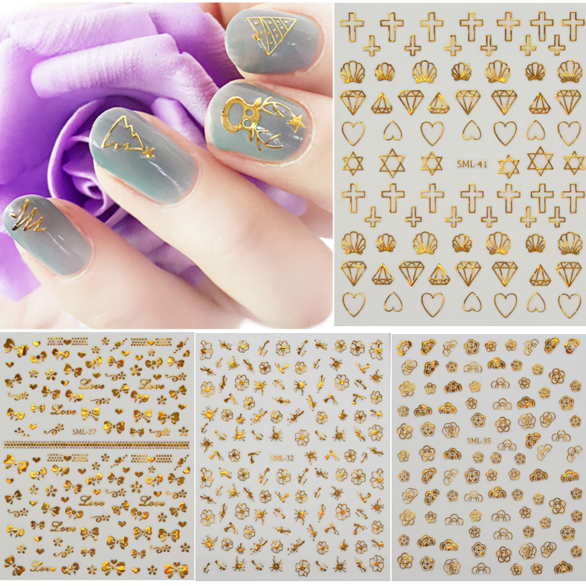 Nail Art Metallic Gold Glitter Stickers Decals Transfers DIY Decoration