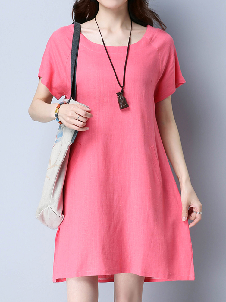 Women Vintage Solid Short Sleeve Dresses O-Neck Mini Dress