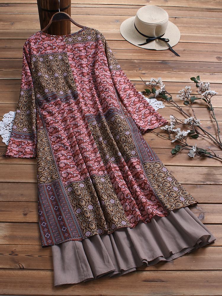 Plus Size Floral Long Sleeve Patchwork Dress with Pockets