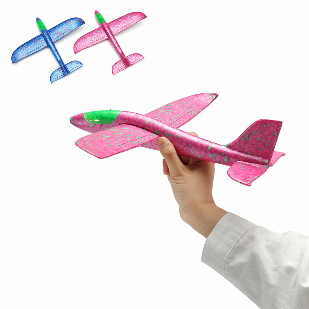 35cm Hand Launch Throwing Aircraft Airplane Glider DIY Inertial Foam EPP Plane Toy With Led Light