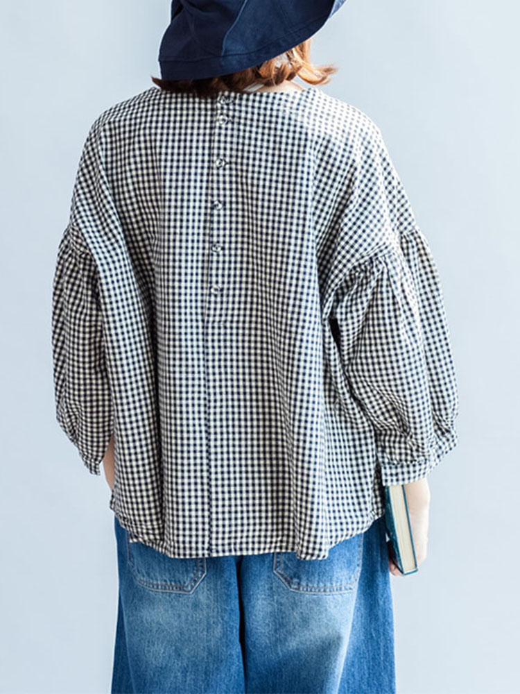 M-5XL Casual Women Black and White Plaid Blouse