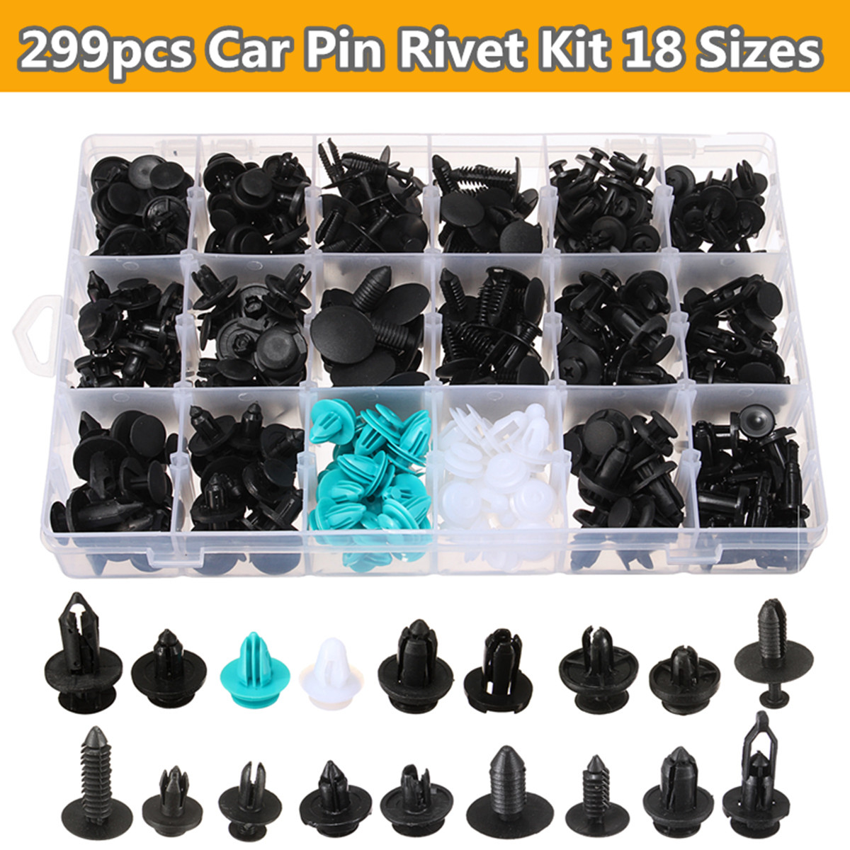 299 Pcs Car Automotive Pushpin Rivet Trim Clip Panel Body Interior Assortment