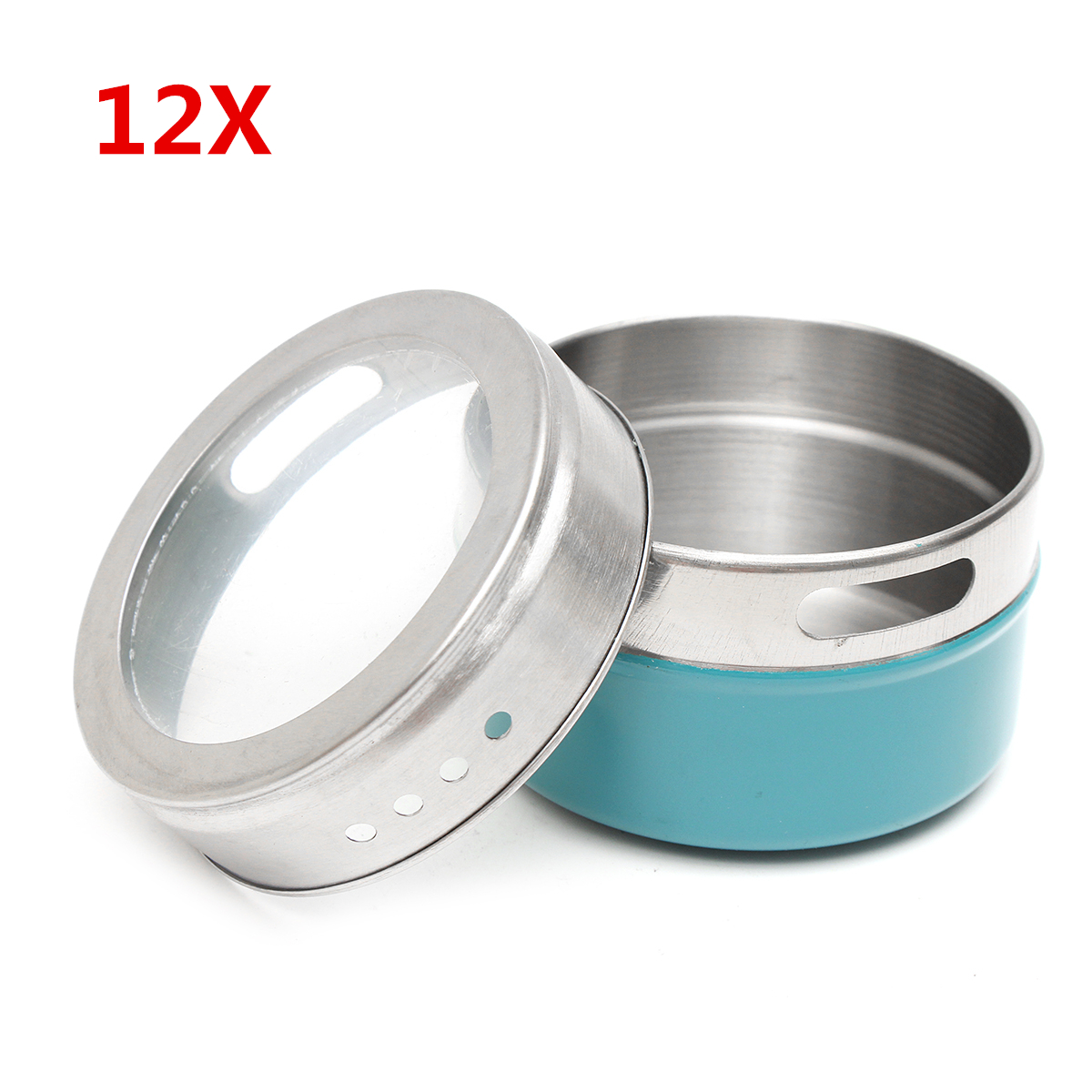 12Pcs Stainless Steel Magnetic Spice Tins Storage Conta