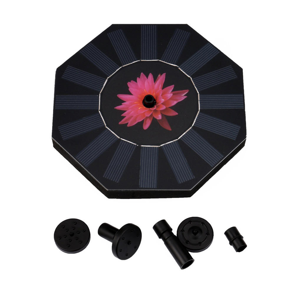 Octagonal-shaped Outdoor Solar Powered Fountain Floating Water Pump for Pool Garden Aquarium Tools Solar Floating Drifting Panel Pool Plants Watering Garden Fountain Pump