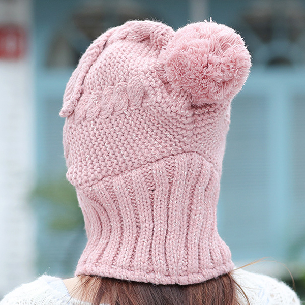 Women Windproof Thicken Knit Hat Scarf Face Mask Set Beanie