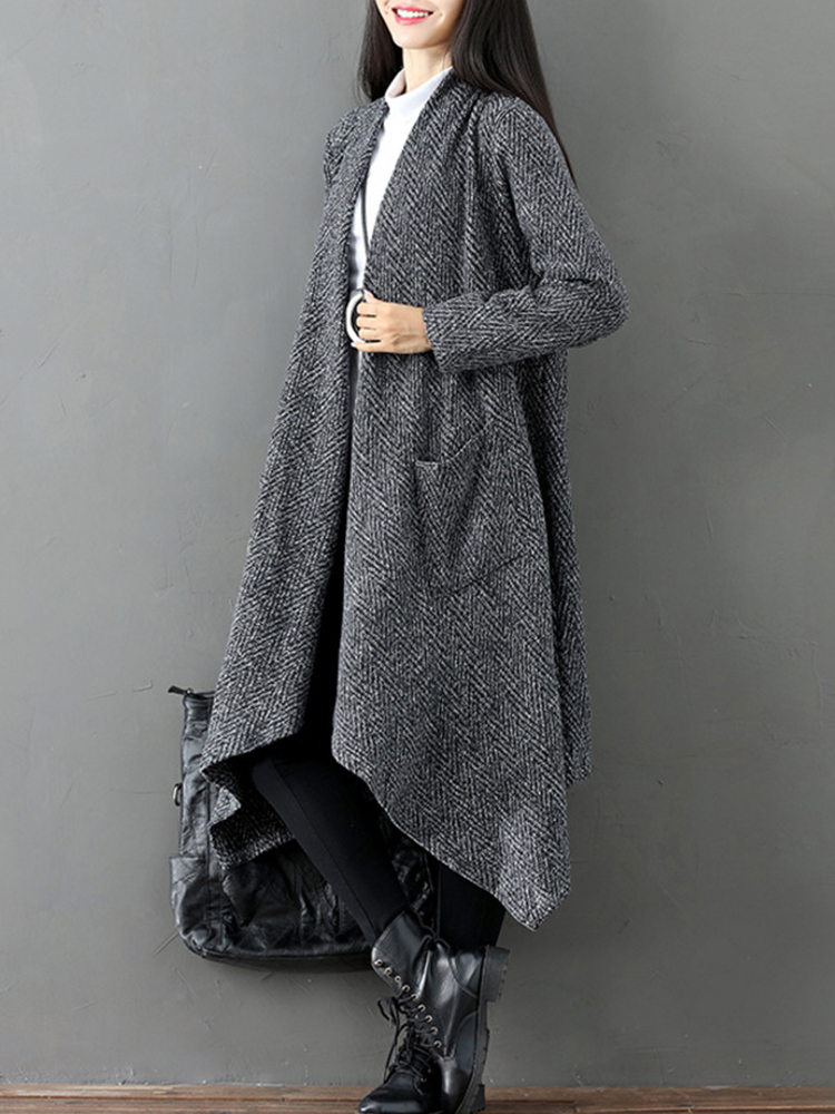 Solid Color Women Open Front Cardigan