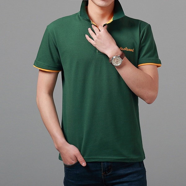 Mens Cotton Stand Collar Golf Shirt Summer Letter Embroidery Button Short Sleeves T-shirt