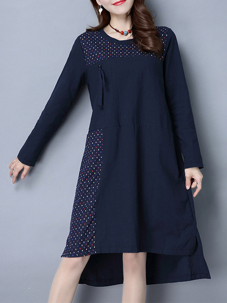 Navy Women Vintage Long Sleeve Patchwork Pocket Irregular Hem Dresses