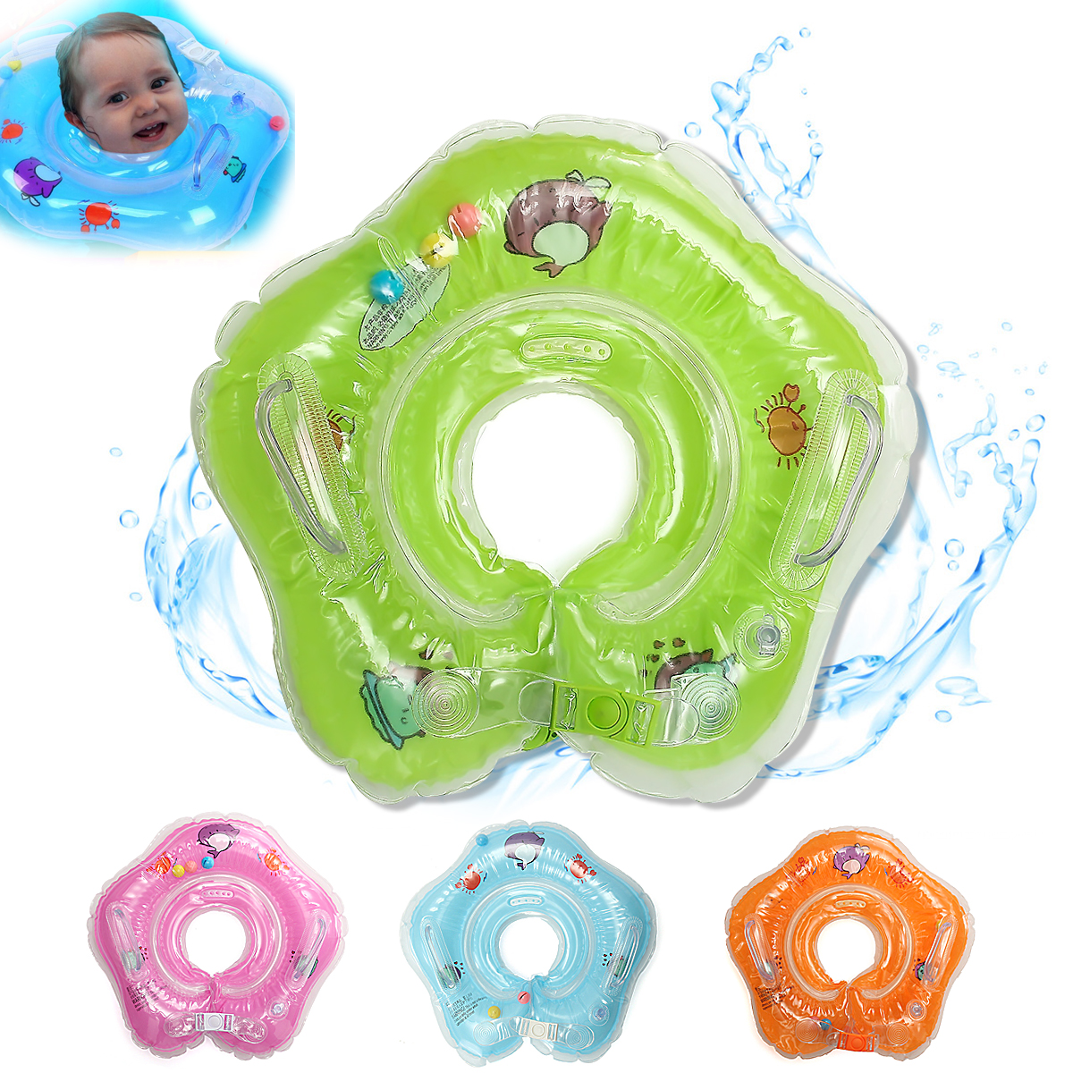 IPRee Baby Infant Swimming Pool Bath Neck Floating Inflatable Ring Built-in Belt