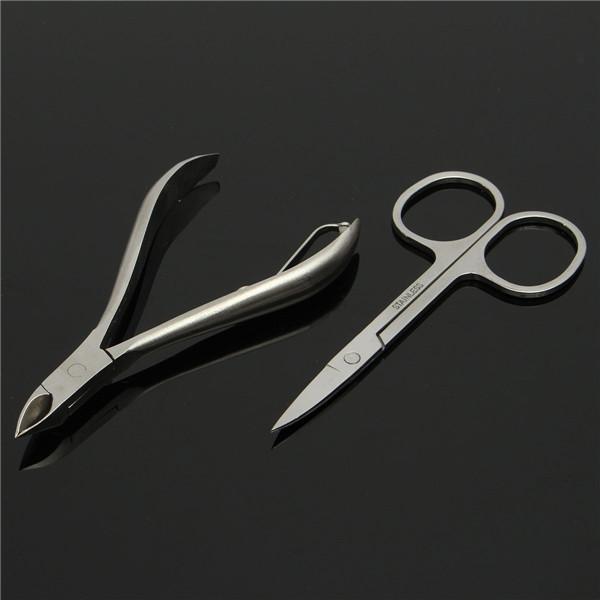 12pcs Stainless Steel Manicure Tools Set Travel Nail Nipper File Clipper Tweezers Eyebrow Scissors