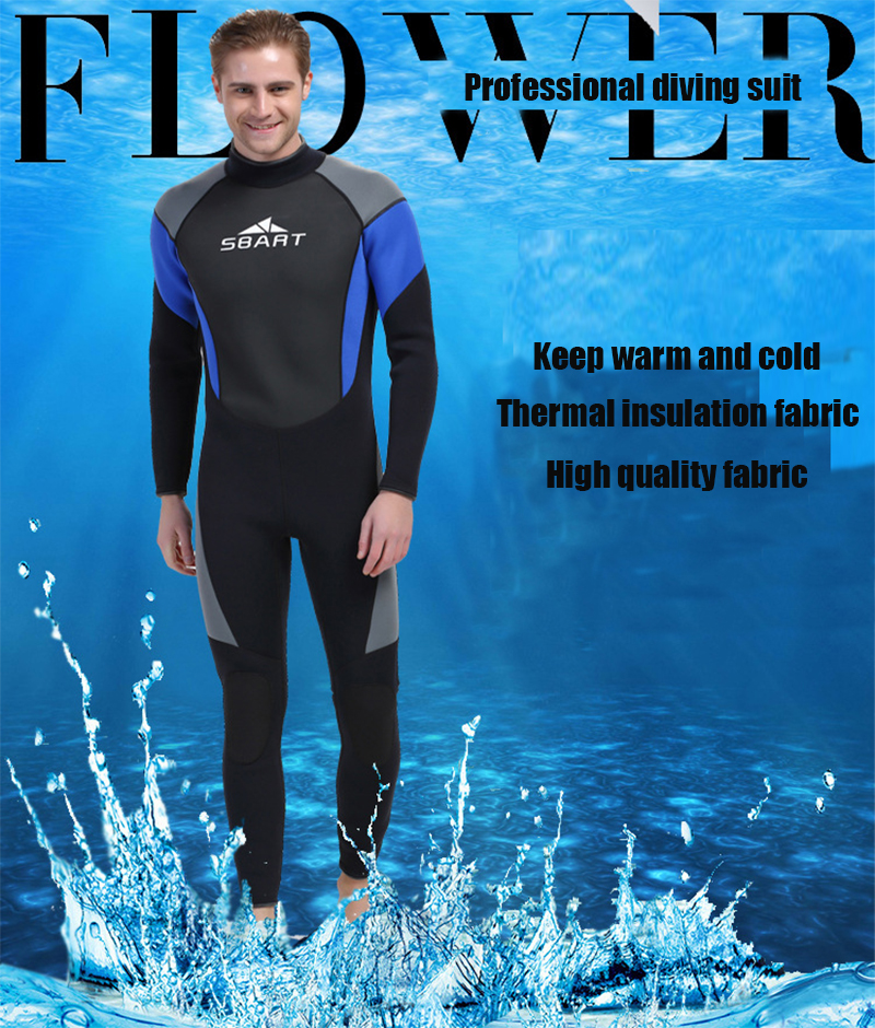 Men Rubber Wetsuit 3mm Scuba Diving Suit Jellyfish One Piece Swimsuits Diving Set