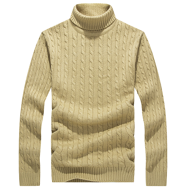 Men Winter Casual Thick Turtleneck Solid Color Knitwear Sweater Pullover