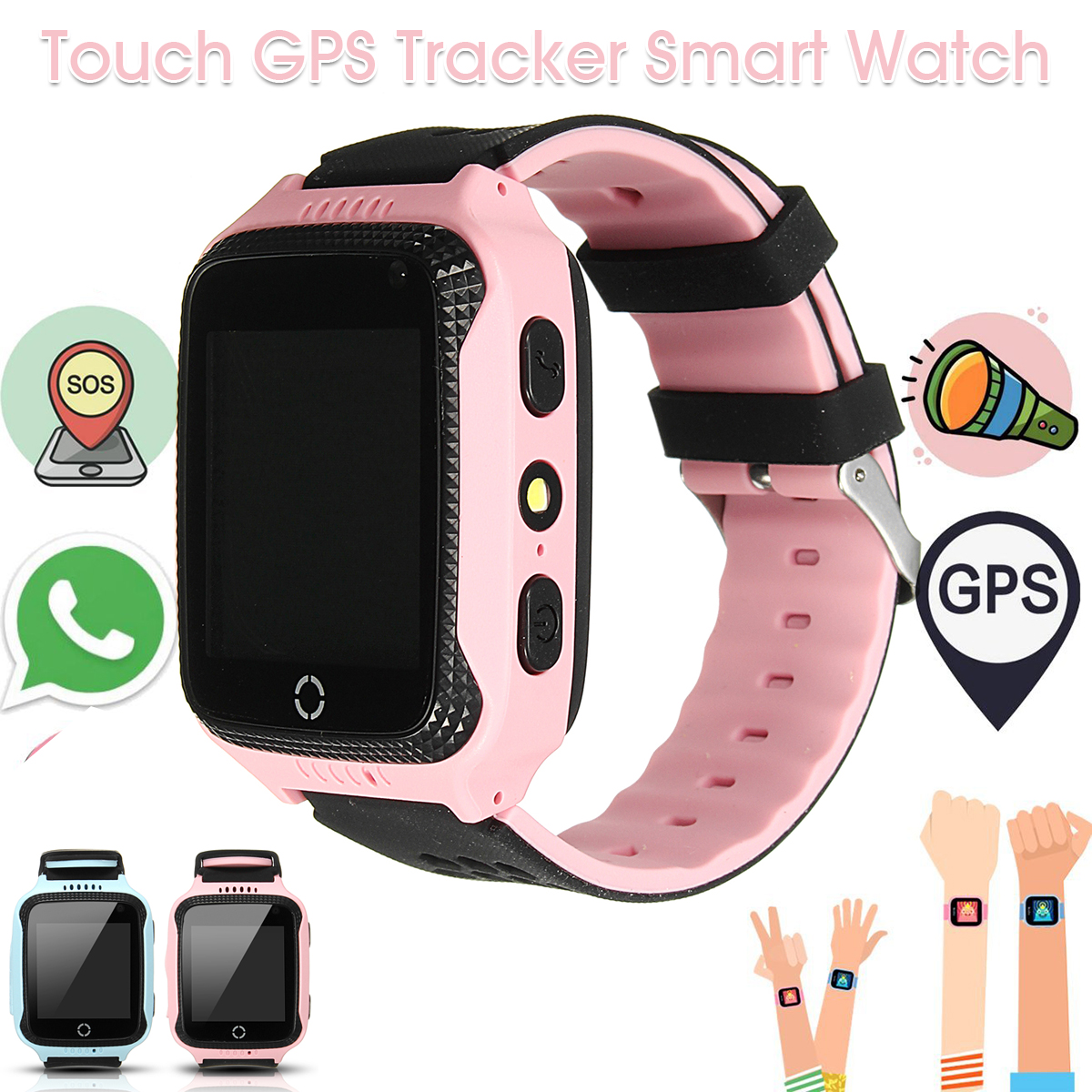 Q529 Kids Smart Wrist Watch Phone GPS Tracker SOS Call Flashlight Camera for IOS