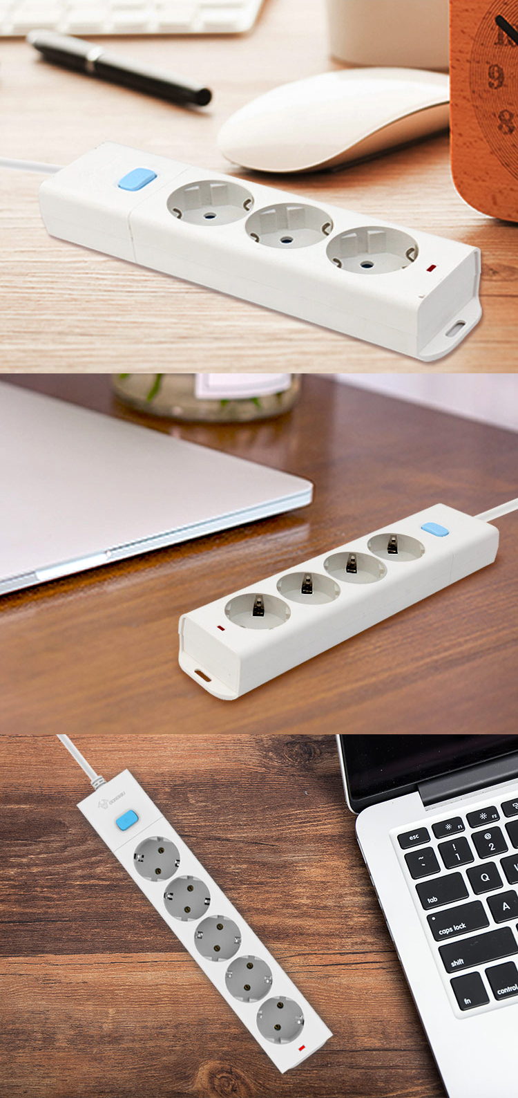 Bull 16A 3680W 3/4/5 Way AC Universal Outlets Plug Home Socket EU Plug Power Strip Overload Protection Extension Cord