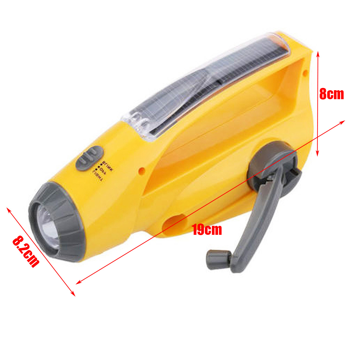 Solar/ Hand Crank Dynamo Emergency LED Flashlight Torch Alarm Phone Charger Radio