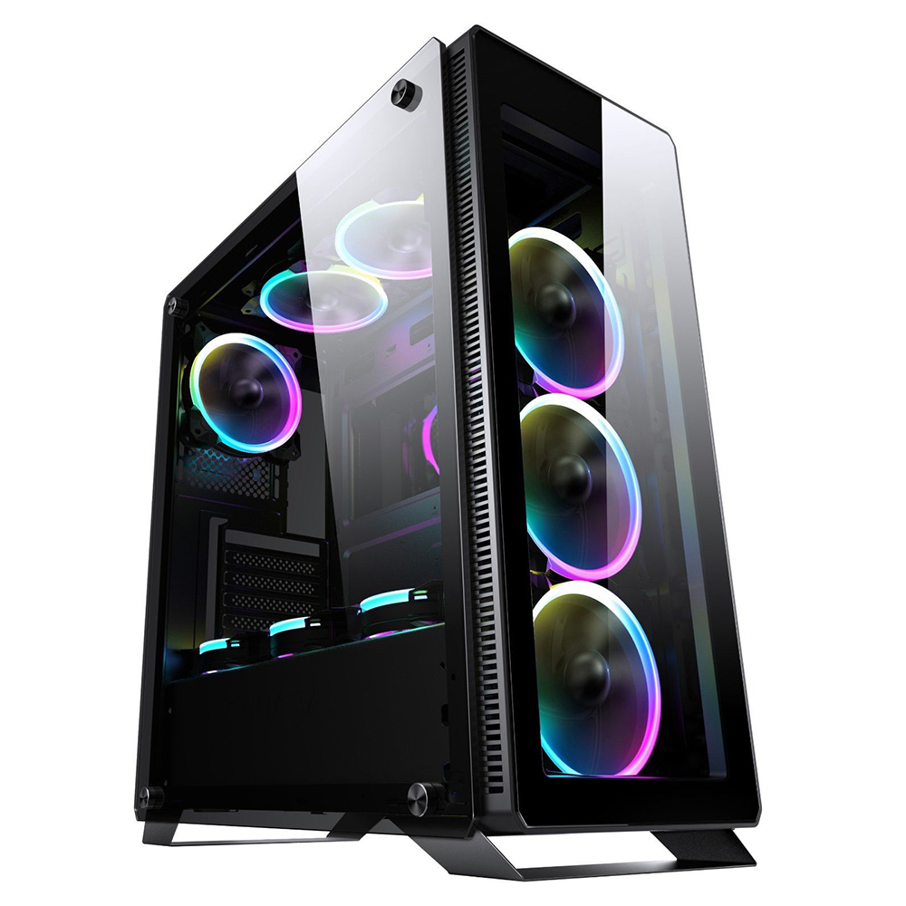 Купить со скидкой Segotep halo7 plus USB3.0 Gaming Tempered Computer Case PC ATX M-ATX ITX Mid Tower Desktop Chassis