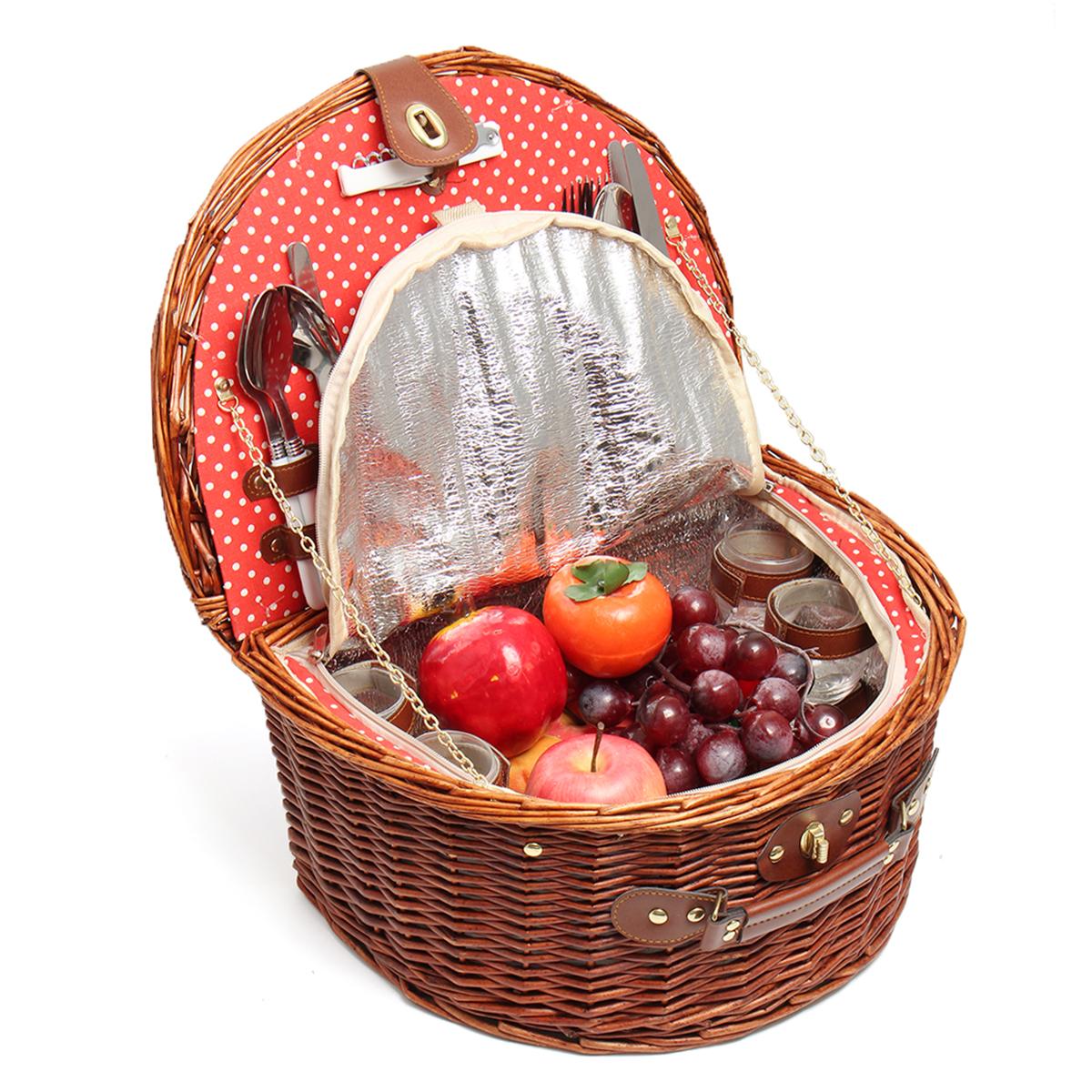 Retro Deluxe 4 Person Wicker Picnic Basket Hamper Set w/ Flatware Wine Glasses Lunch Boxes