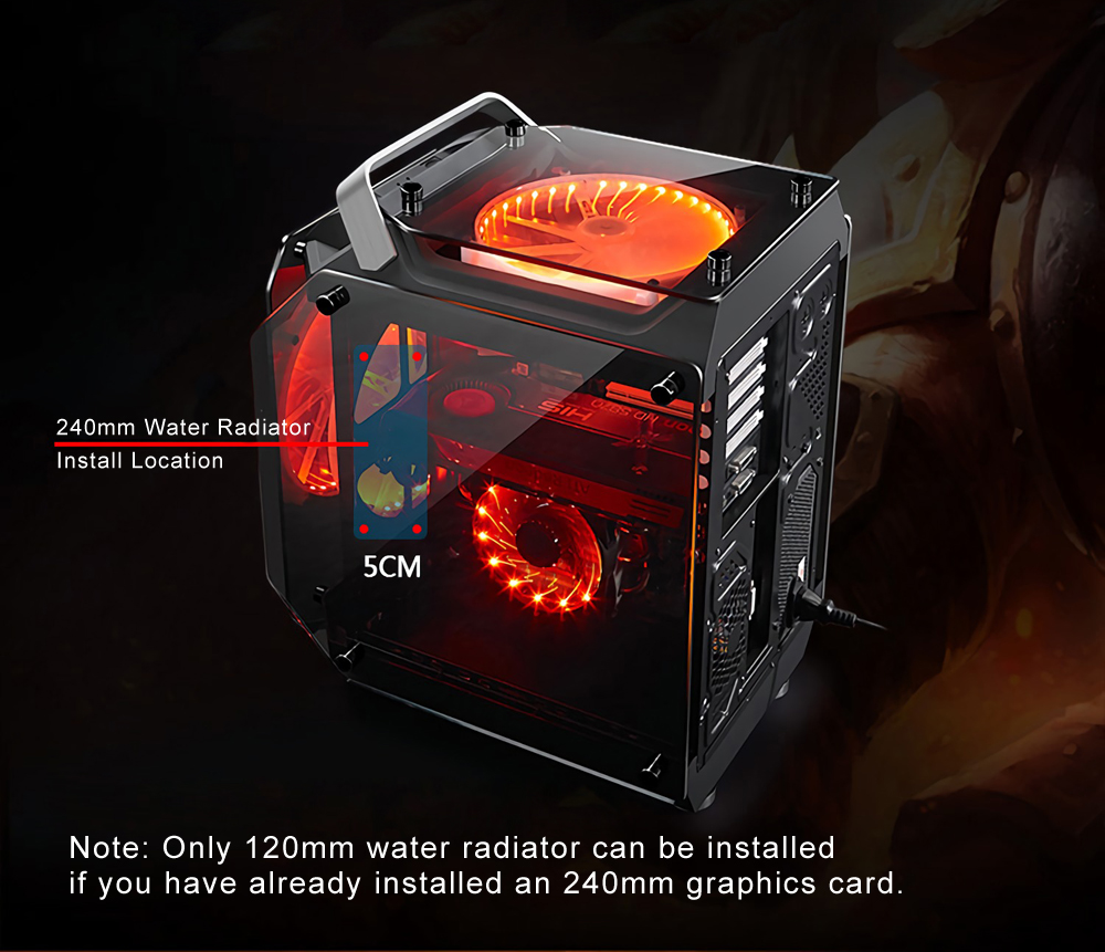 Coolman Gorilla Tempered Glass ATX Computer Case Water Cool Air Cool PC Case with 200mm Cooling Fan