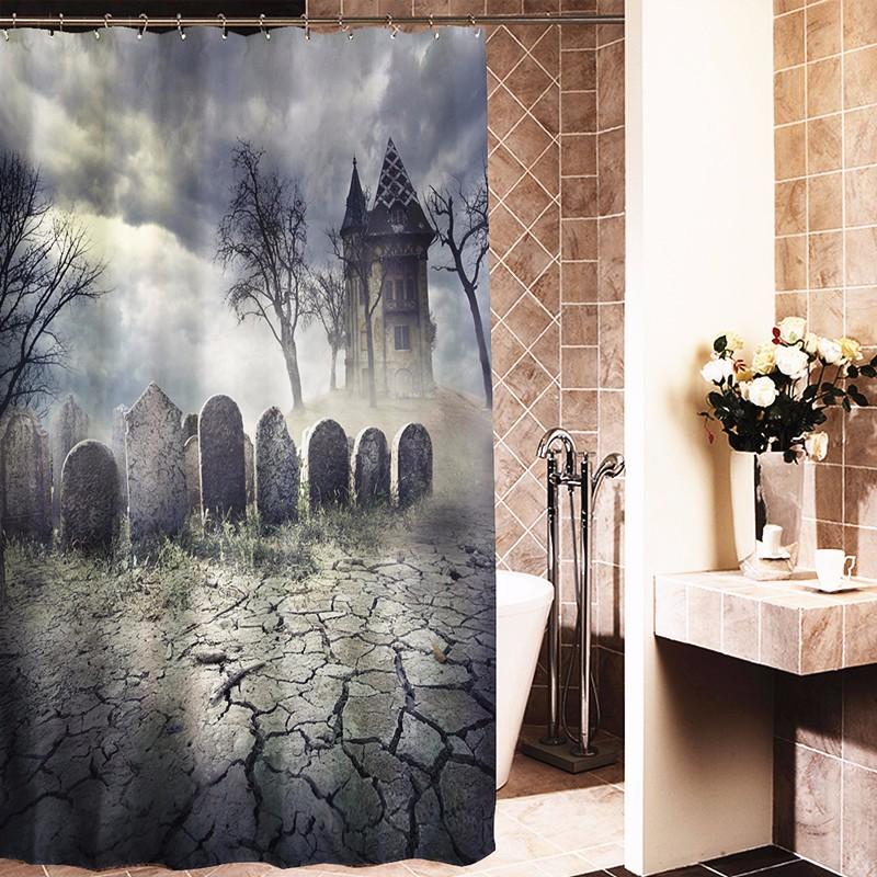 180x180cm Halloween Haunted House Polyester Shower Curtain Bathroom Decor with 12 Hooks