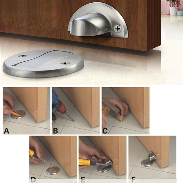 Zinc Alloy Magnetic Door Holder Stopper Doorstop Wall Floor Mounted Safety Catch