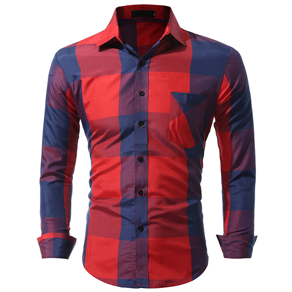 Mens Plaid Printing Slim Checked Button Up Fashion Designer Casual Shirt